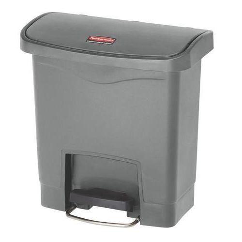 Plastový odpadkový koš Rubbermaid Front Step, objem 15 l, šedý