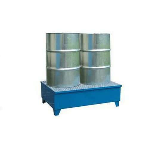 Kovová záchytná vana s roštem, integrované nohy, pro 2 sudy, lakovaná