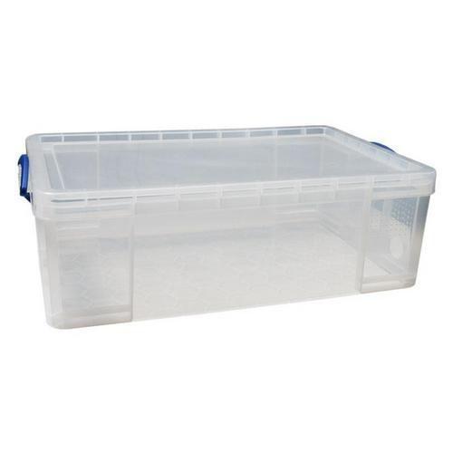 Plastový úložný box s víkem na klip, průhledný, 50 l