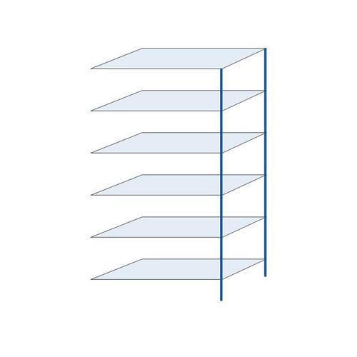 Kovový regál, přístavbový, 250 x 130 x 60 cm, 2 000 kg, 6 polic, modrý