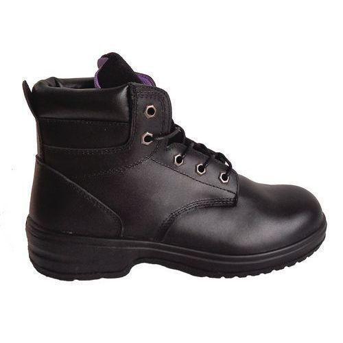 Pracovní koženkové kotníkové boty Manutan s ocelovou špicí, dámské, černé, vel. 41