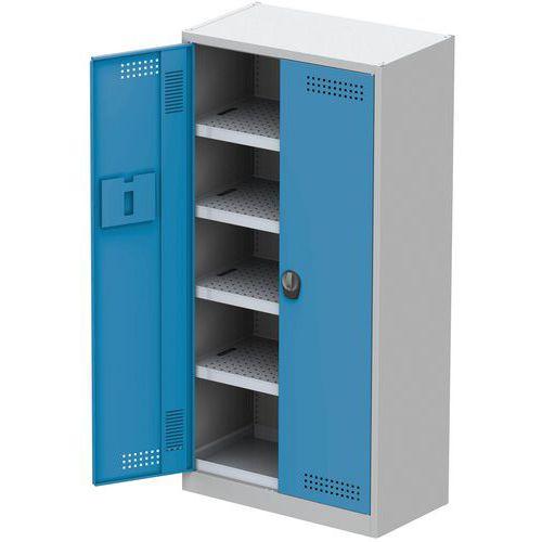 Skříň na uskladnění chemikálií, 950 x 500 x 1 950 mm, šedá/modrá