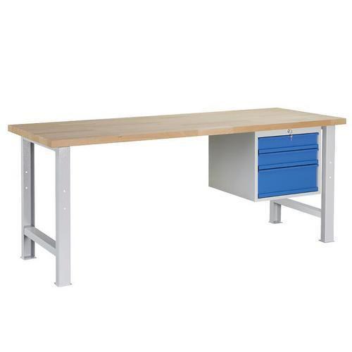Dílenský stůl Weld se 3 zásuvkami, 84 x 150 x 80 cm, šedý - Prodloužená záruka na 10 let