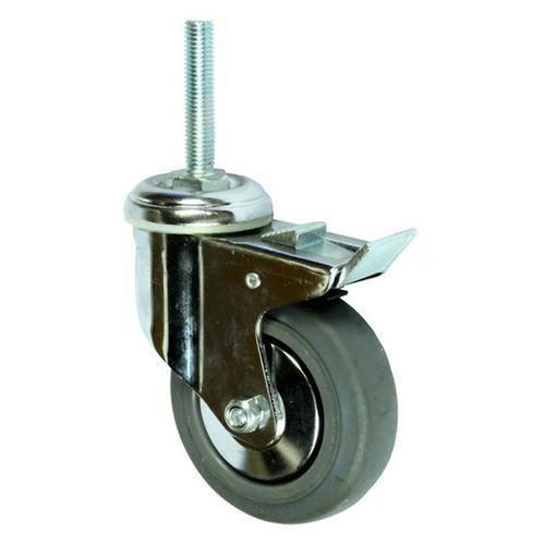 Gumové přístrojové kolo s čepem, průměr 100 mm, otočné s brzdou, kluzné ložisko