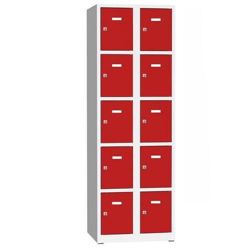 Svařovaná šatní skříň Philip, 10 boxů, cylindrický zámek, šedá/č