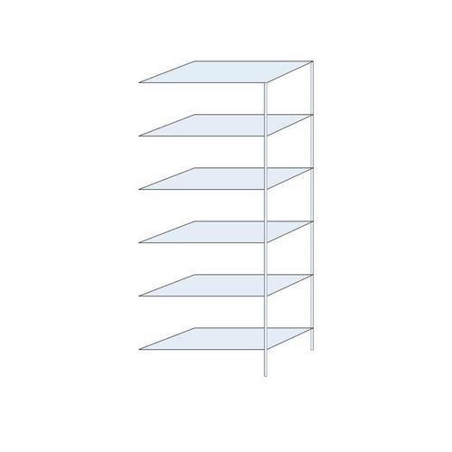 Kovový regál Taranis, přístavbový, 250 x 100 x 50 cm, 1 320 kg, 6 polic, stříbrný - Prodloužená záruka na 10 let