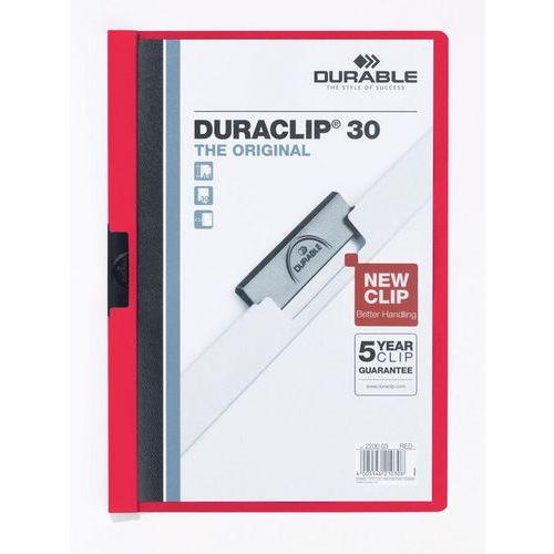 Rychlovázací desky DuraClip, 20 ks, kapacita 30 listů, červené