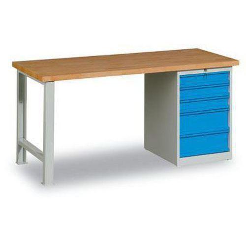 Dílenský stůl Weld s 5 zásuvkami, 84 x 150 x 80 cm, šedý - Prodloužená záruka na 10 let