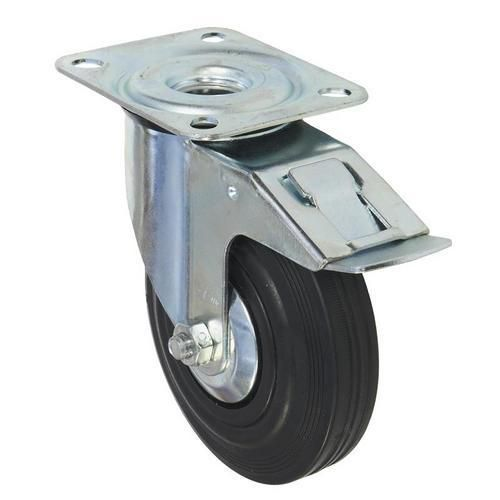 Gumové transportní kolo s přírubou, průměr 125 mm, otočné s brzd