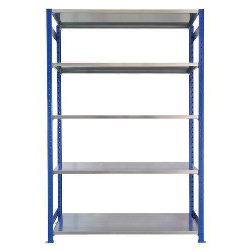 Kovový regál, základní, 200 x 130 x 40 cm, 2 000 kg, 5 polic, modrý