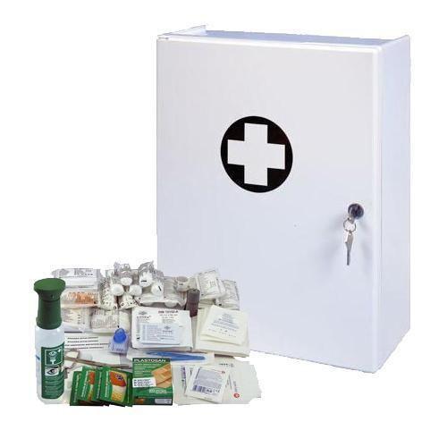 Plastová nástěnná lékárnička, uzamykatelná, 42 x 31 x 15 cm, s n