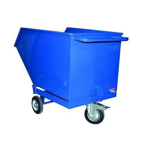 Pojízdný výklopný kontejner se sítem a výpustným kohoutem, objem 600 l, modrý