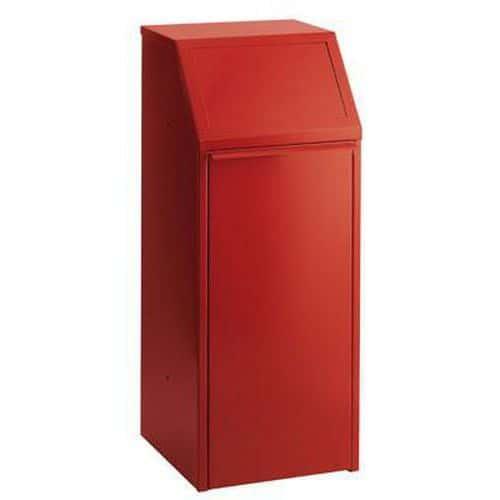 Kovový odpadkový koš na tříděný odpad, objem 70 l, červený