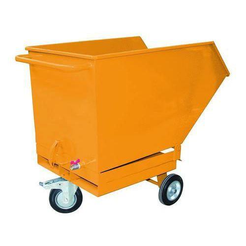 Pojízdný výklopný kontejner se sítem, výpustným kohoutem a kapsami pro vysokozdvižný vozík, objem 250 l, žlutý