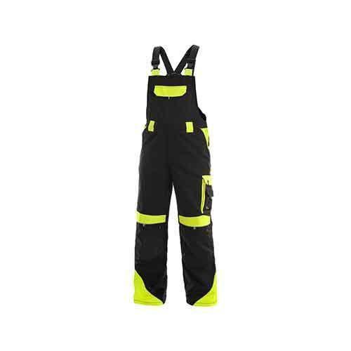 Pánské montérkové kalhoty CXS Sirius Brighton s laclem a reflexními prvky, černé/žluté