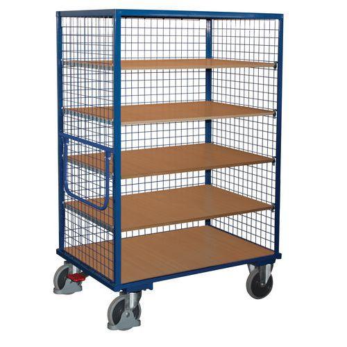 Vysoký skříňový vozík s madlem a mřížovými stěnami, do 500 kg, 5 polic, 180 x 131,5 x 83 cm - Prodloužená záruka na 10 let
