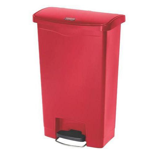 Plastový odpadkový koš Rubbermaid Front Step, objem 50 l, červený - Prodloužená záruka na 10 let
