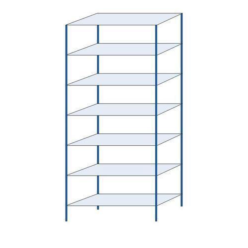 Kovový regál, základní, 300 x 130 x 50 cm, 2 000 kg, 7 polic, modrý