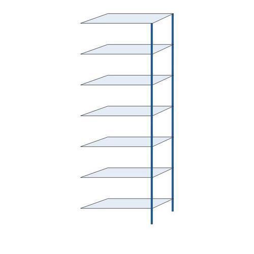 Kovový regál, přístavbový, 300 x 100 x 40 cm, 2 000 kg, 7 polic, modrý