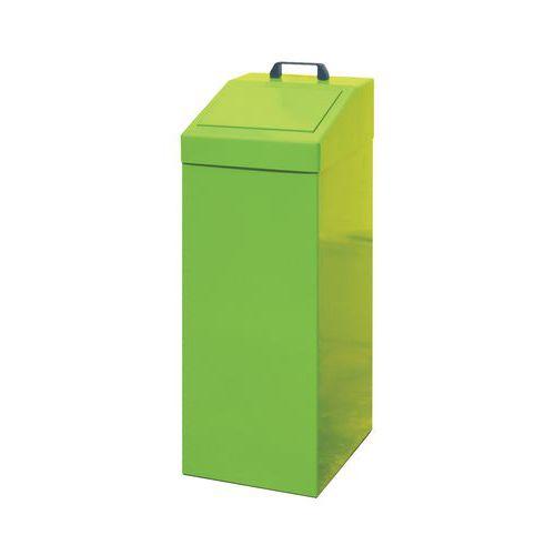 Kovový odpadkový koš na tříděný odpad, objem 100 l, zelený