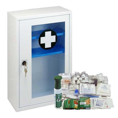Kovová nástěnná lékárnička s transparentními dvířky, uzamykateln