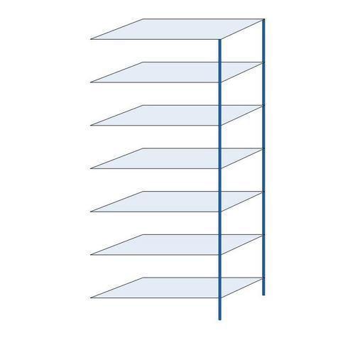Kovový regál, přístavbový, 300 x 130 x 60 cm, 2 000 kg, 7 polic, modrý