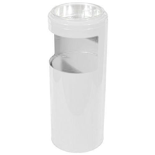 Kovový odpadkový koš s popelníkem, objem 10 l, bílý