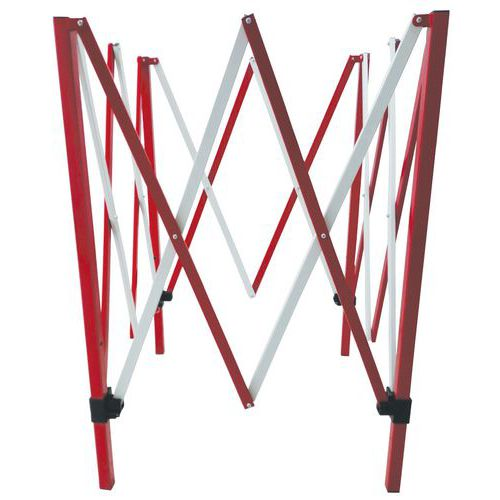 Čtvercová kovová mobilní zábrana Manutan, skládací, 1 300 x 1 30