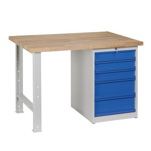Dílenský stůl Weld s 5 zásuvkami, 84 x 120 x 80 cm, šedý
