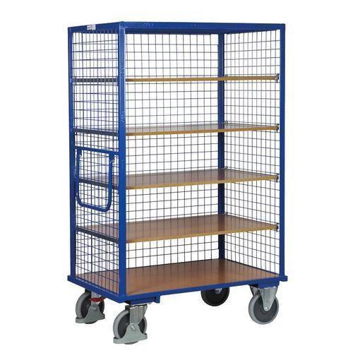 Vysoký skříňový vozík s madlem a mřížovými stěnami, do 500 kg, 5 polic, 180 x 111,5 x 73 cm - Prodloužená záruka na 10 let