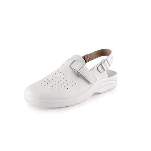 Kožené sandály MIKA s plnou špicí, bílé, vel. 46