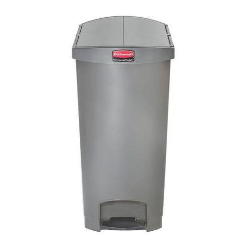 Plastový odpadkový koš Rubbermaid End Step, objem 90 l, šedý - Prodloužená záruka na 10 let