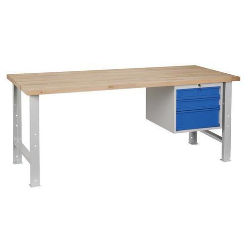 Dílenský stůl Weld se 3 zásuvkami, 84 x 200 x 80 cm, šedý - Prodloužená záruka na 10 let