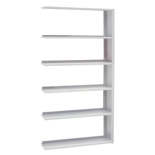 Kovové regály, přístavbové, 198 x 100 x 30 - 40 cm, 5 polic, šedé