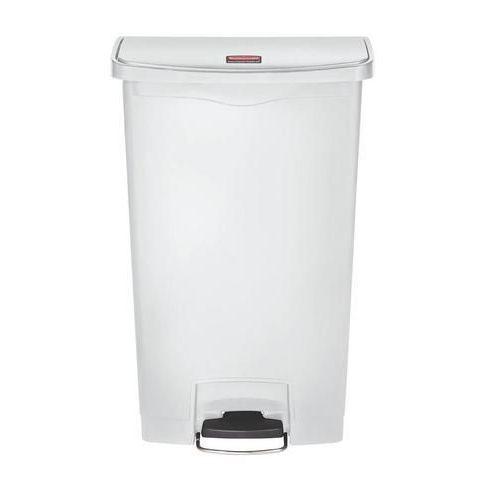 Plastový odpadkový koš Rubbermaid Front Step, objem 68 l, bílý