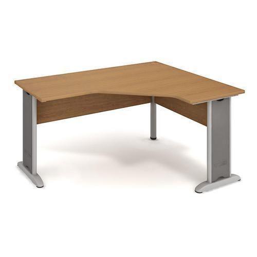 Rohový kancelářský stůl Cross, 160 x 120 x 75,5 cm, pravé provedení, dezén buk - Prodloužená záruka na 10 let