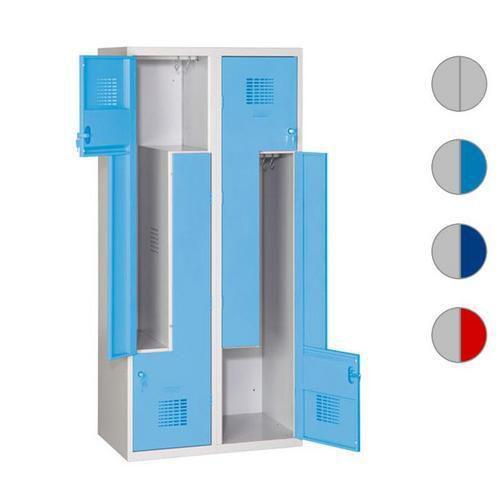 Svařované šatní skříně Steven, dveře Z, 4 oddíly, cylindrický zámek