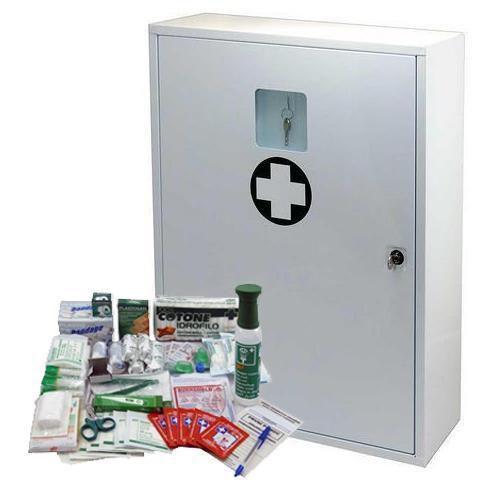 Kovová nástěnná lékárnička, uzamykatelná, 60 x 45 x 16 cm, s náp