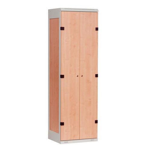 Šatní skříň Oliver s dřevěnými dveřmi, 2 oddíly, šedá/buk