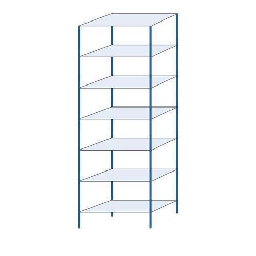 Kovový regál, základní, 300 x 100 x 50 cm, 2 000 kg, 7 polic, modrý
