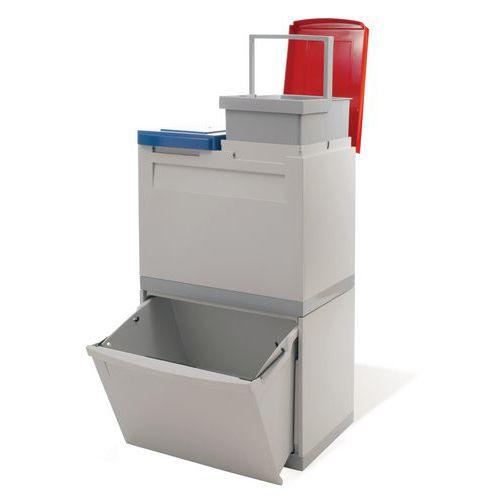 Plastový odpadkový koš EKOMODUL na tříděný odpad, objem 1 x 30 l + 2 x 15 l - Prodloužená záruka na 10 let