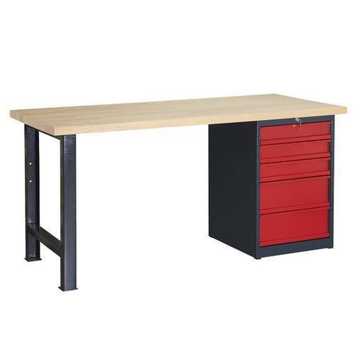 Dílenský stůl Weld s 5 zásuvkami, 84 x 170 x 80 cm, antracit - Prodloužená záruka na 10 let