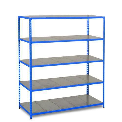 Kovový regál Rapid 2, 198 x 152,5 x 30,5 cm, 110 kg/police, 5 ocelových panelů, modrý