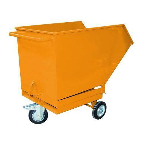Pojízdný výklopný kontejner s kapsami pro vysokozdvižný vozík, objem 250 l, žlutý