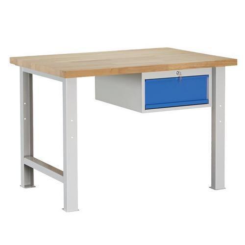 Dílenský stůl Weld se zásuvkou, 84 x 120 x 80 cm, šedý - Prodloužená záruka na 10 let
