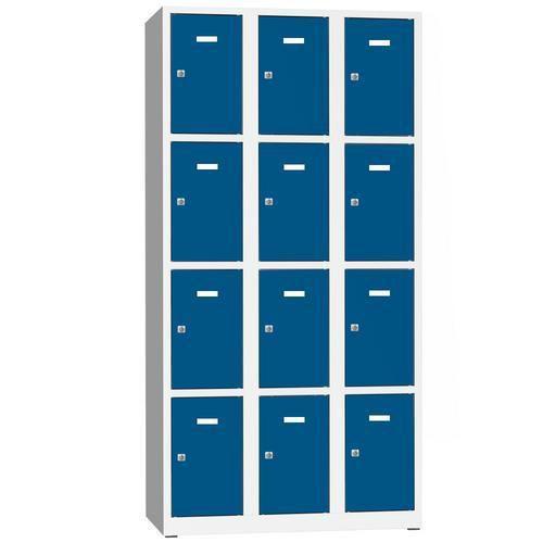 Svařovaná šatní skříň Philip, 12 boxů, cylindrický zámek, šedá/m