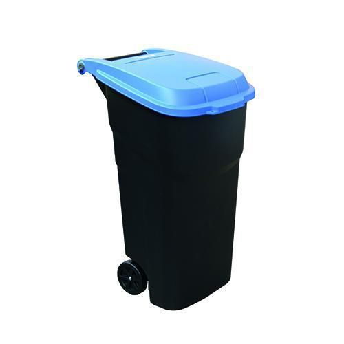 Plastová venkovní popelnice Manutan na tříděný odpad, objem 100 l, víko modré