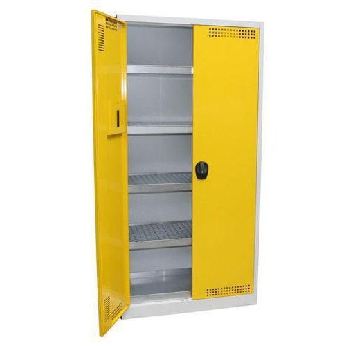 Skříň na uskladnění chemikálií, 950 x 500 x 1 950 mm, šedá/žlutá