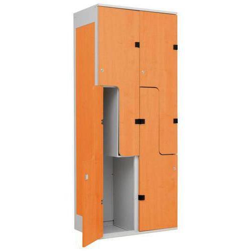 Šatní skříň William s dřevěnými dveřmi, 4 boxy, šedá/třešeň