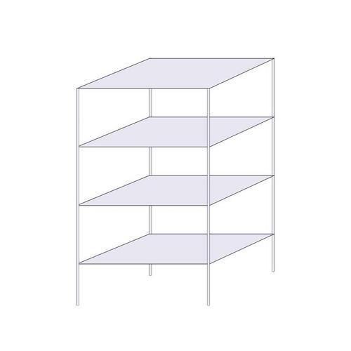 Drátěný regál, základní, 160 x 90,7 x 61 cm, 4 police, stříbrný